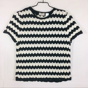 Liz Claiborne Chevron Stripe Short Sleeve Sweater